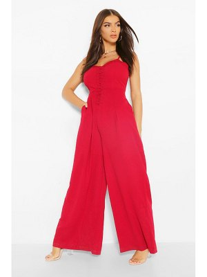 Boohoo Woven Strappy Button Front Wide Leg Jumpsuit