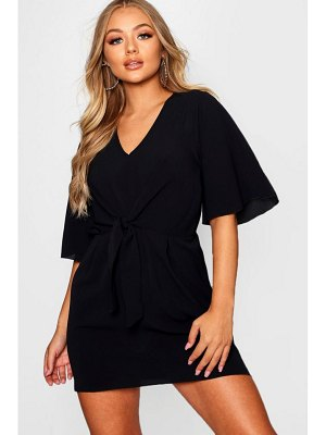 Boohoo Woven Tie Front Mini Dress