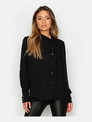 Boohoo Woven Pussybow Button Detail Blouse