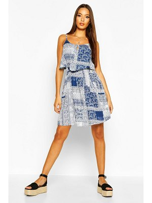 Boohoo Woven Tile Print Strappy Sundress