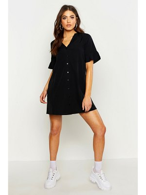 Boohoo Woven V Neck Button Through Ruffle Shift Dress