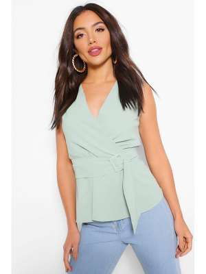 Boohoo Woven Wrap Assymetric Belted Blouse