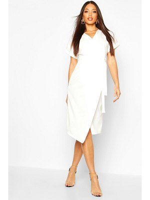 Boohoo Wrap Button Belted Midi Dress