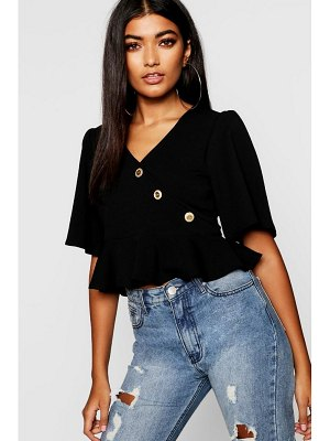 Boohoo Wrap Front Button Detail Top