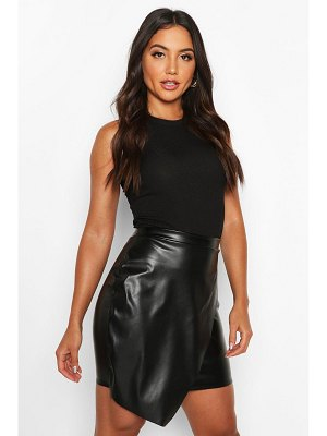 Boohoo Wrap Front Leather Look Mini Skirt