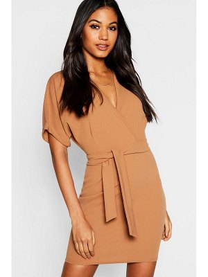 Boohoo Wrap Over Belted Dress