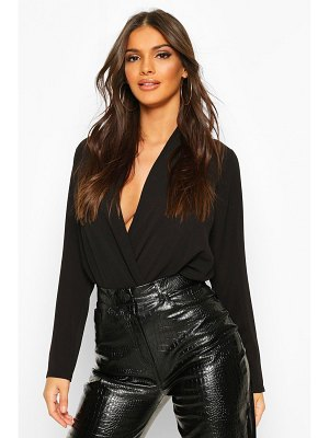 Boohoo Wrap Over Belted Elasticated Waist Blouse