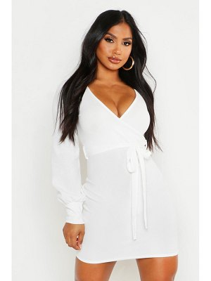 Boohoo Wrap Over Belted Shift Dress