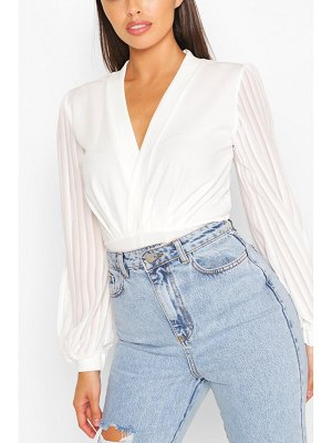 Boohoo Wrap Stripe Chiffon One Piece