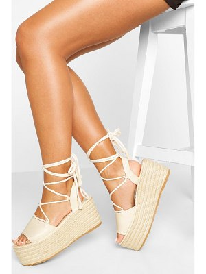 Boohoo Wrap Up Strap Raffia Flatforms
