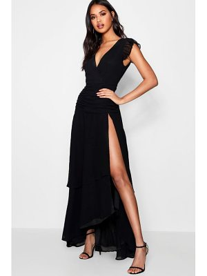 Boohoo Ruffle and Ruched Detail Maxi Dress
