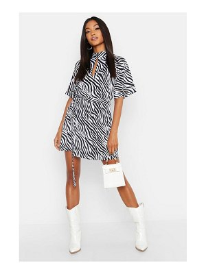 Boohoo Zebra Print High Neck Skater Dress