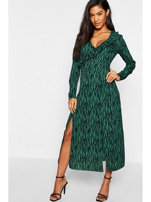 Boohoo Zebra Print Wrap Midi Dress