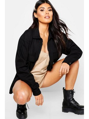 Boohoo Zip Front Pocket Denim Jacket