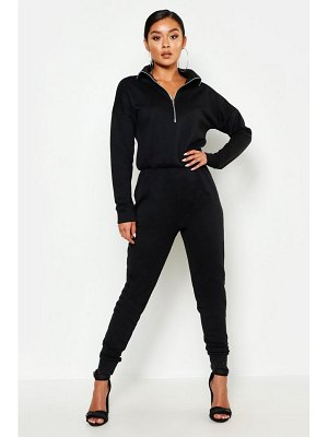 Boohoo Zip Up High Neck Sweat Jumpsuit