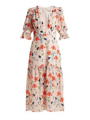 BORGO DE NOR Dhalia floral and firefly-print crepe dress