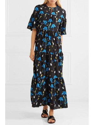 BORGO DE NOR serena printed crepe de chine midi dress