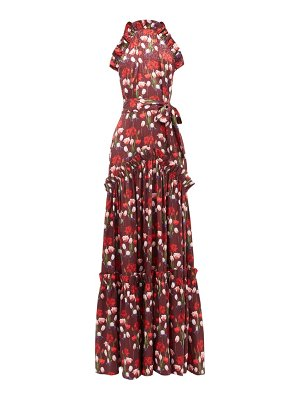 BORGO DE NOR tatiana floral-print ruffled satin dress