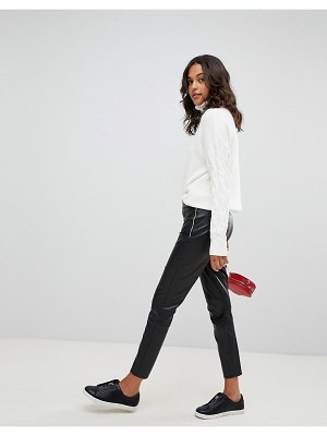 BOSS Casual faux leather pants with side seam detail