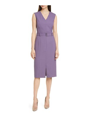 BOSS dadorina belted sleeveless virgin wool sheath dress
