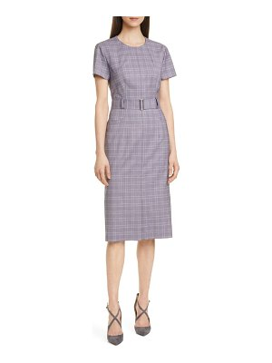 BOSS danetty plaid belted sheath dress