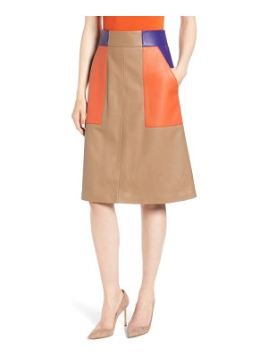 BOSS seplea colorblock leather skirt