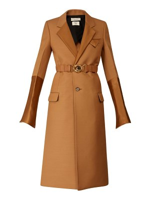 Bottega Veneta contrast panel belted single breasted coat