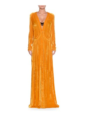 Bottega Veneta Deep-V Button-Front Long-Sleeve Draped Velvet Long Dress w/ Self Belt
