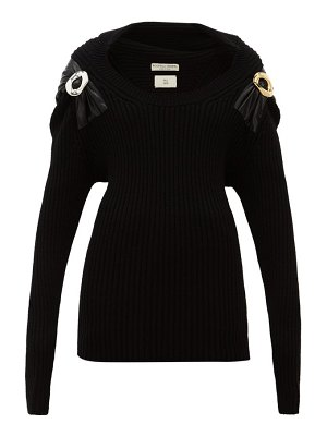 Bottega Veneta embellished ribbed wool blend sweater