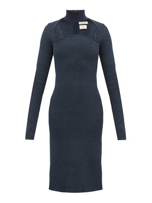 Bottega Veneta high neck silk blend sablé dress