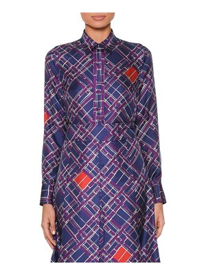Bottega Veneta Long-Sleeve Button-Front Irregular-Check Print Silk Shirt