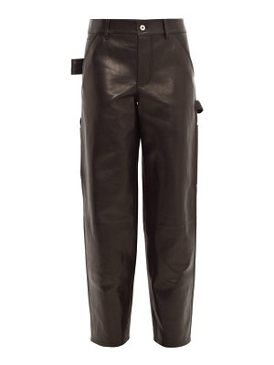 Bottega Veneta mid rise straight leg leather trousers