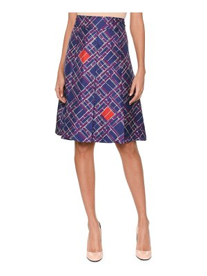 Bottega Veneta Pleated-Front Irregular Check-Print Knee-Length Silk Skirt