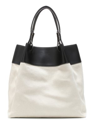 Bottega Veneta quad leather-trimmed linen tote