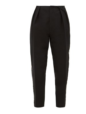 Bottega Veneta satin trim structured wool blend twill trousers