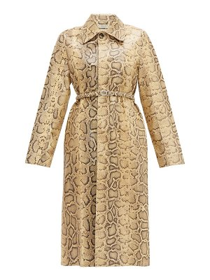 Bottega Veneta single-breasted python-effect leather coat