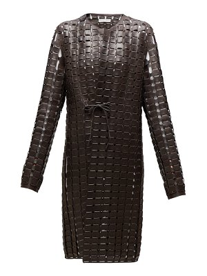 Bottega Veneta single breasted woven leather coat