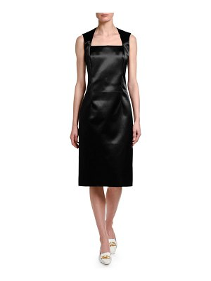 Bottega Veneta Square-Neck Satin Sheath Dress