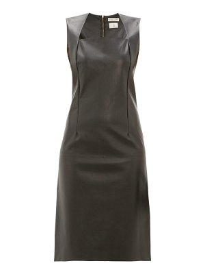 Bottega Veneta square neckline leather dress