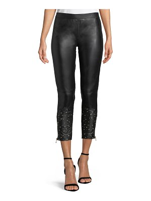 Boutique Moschino Embellished-Cuff Leather Leggings