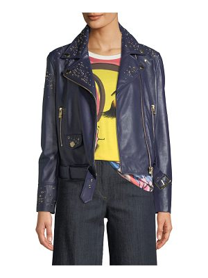 Boutique Moschino Studded Leather Motorcycle Jacket