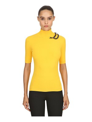 Boutique Moschino Turtleneck top w/ chain detail