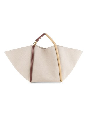 Boyy lotus leather-trimmed canvas tote