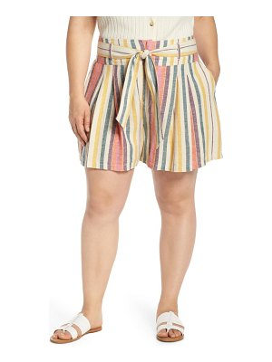 BP. belted pleated linen blend shorts
