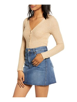 BP. button front long sleeve waffle knit top