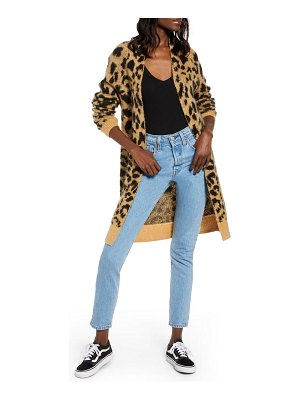 BP. long leopard jacquard cardigan
