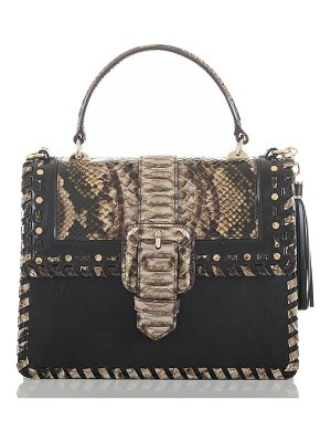 Brahmin mini francine snake embossed leather satchel
