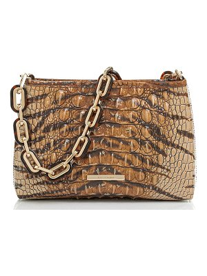 Brahmin mod lorelei tiger stripe croc embossed leather shoulder bag