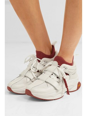 Brandblack pushbutton saga leather, mesh and stretch-knit sneakers