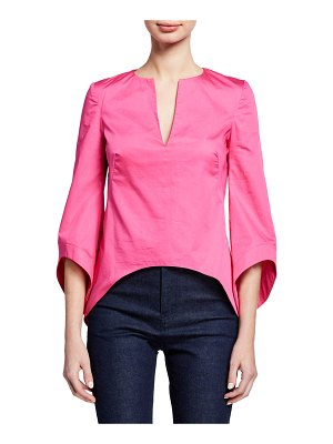 Brandon Maxwell 3/4-Sleeve V-Neck Shirting Blouse